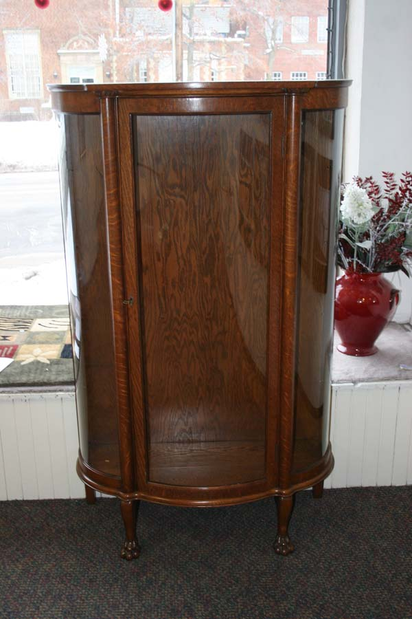 bent glass cabinet curio with lights antique curved for sale