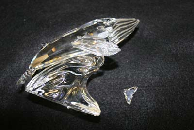Crystal Whale with broken tail