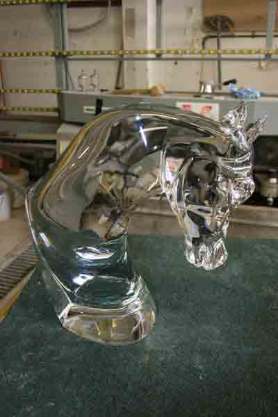 Large crystal horse head