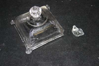 pressed glass lid missing corner