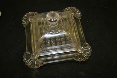 Pressed Glass Butter Dish (with new glass corner)