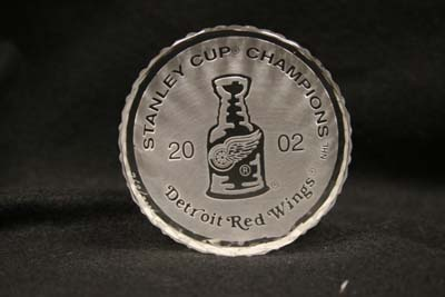 Etched Design on Waterford Puck