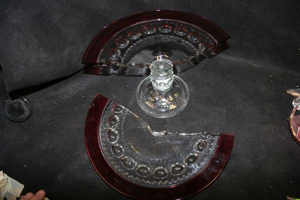 crystal repair antique glass cake plate