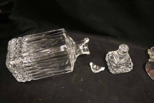 crystal decanter broken neck