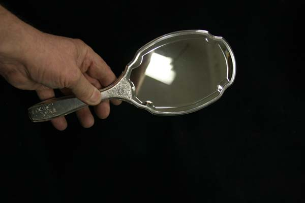 Beveled  Mirror for antique silver hand mirror