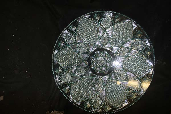 crystal repair  pressed glass table top after