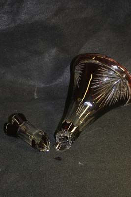 cut glass decanter broken neck
