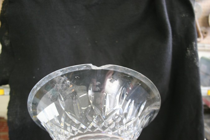 By Grinding The Top Of Compote Down I Was Able To Remove Chip Waterford Crystal Repair