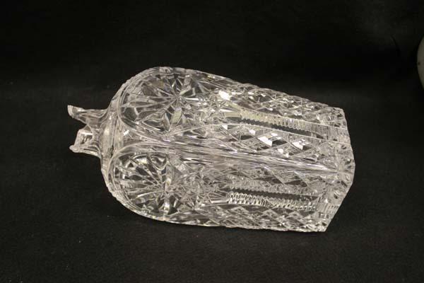 Antique cut glass decanter with broken neck