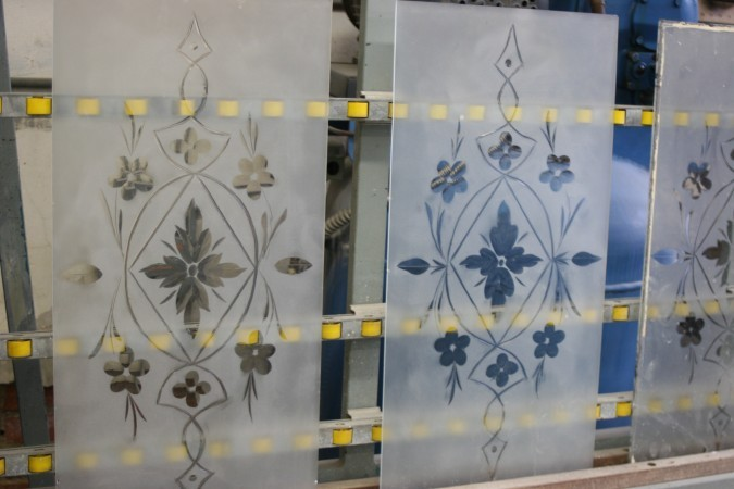 cut glass design  on vintage glass